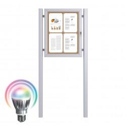 LED Schaukästen mit Standpfosten - Kork