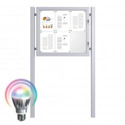 LED Schaukästen mit Standpfosten - Magnetisch 6 x DIN A4