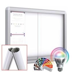 MAXI LED-RAL Schiebetüre Schaukästen mit Standpfosten + Fußplatte - Magnetisch