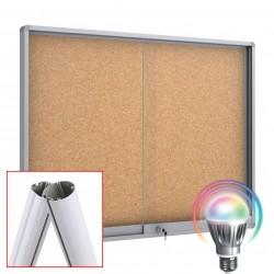 MIDI Schiebetüre LED Schaukästen mit Standpfosten - Kork 8 x DIN A4 (Runde Ecken)