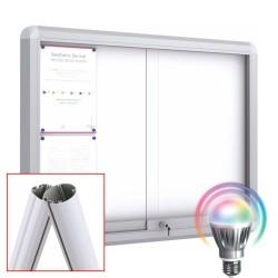 MAXI LED Schiebetüre Schaukästen mit Standpfosten + Fußplatte - Magnetisch
